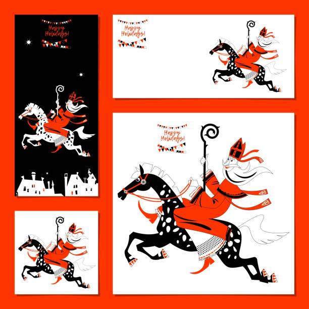 stockillustraties, clipart, cartoons en iconen met set van 4 universele kaarten met sinterklaas paardrijden een paard. kerstmis in nederland. zwart, wit en rood. - mijter