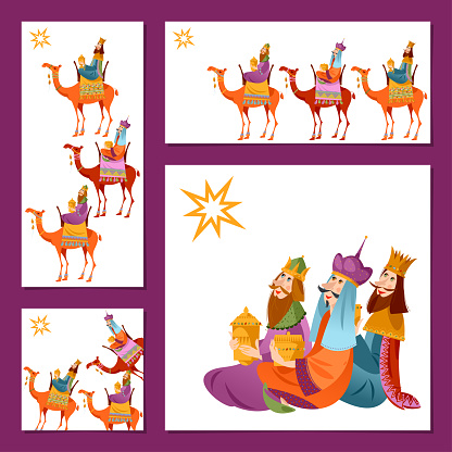 Set of 4 universal Christmas greeting cards with three biblical Kings: Caspar, Melchior and Balthazar.  Three wise men. Template.