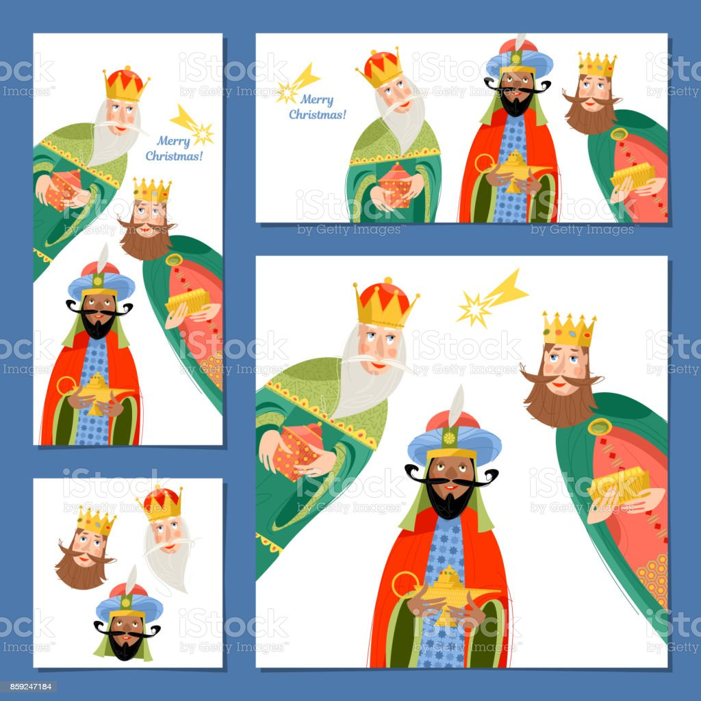 Set Of 4 Universal Christmas Greeting Cards With Three Biblical