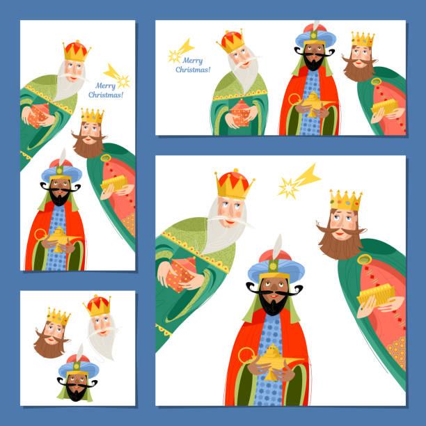 ilustrações de stock, clip art, desenhos animados e ícones de set of 4 universal christmas greeting cards with three biblical kings: caspar, melchior and balthazar.  three wise men. template. - reis magos