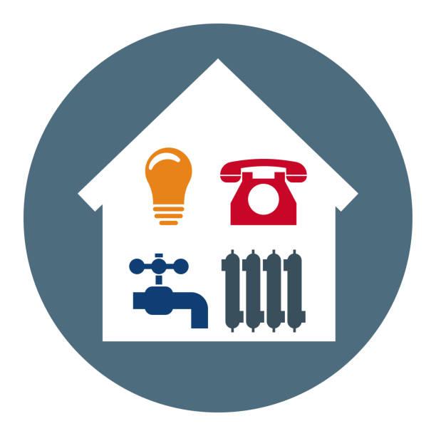 stockillustraties, clipart, cartoons en iconen met set van 4 utilities iconen in huis. symbolen van macht, water, gas, verwarming. schone en moderne vector illustratie voor design, web. - snavel