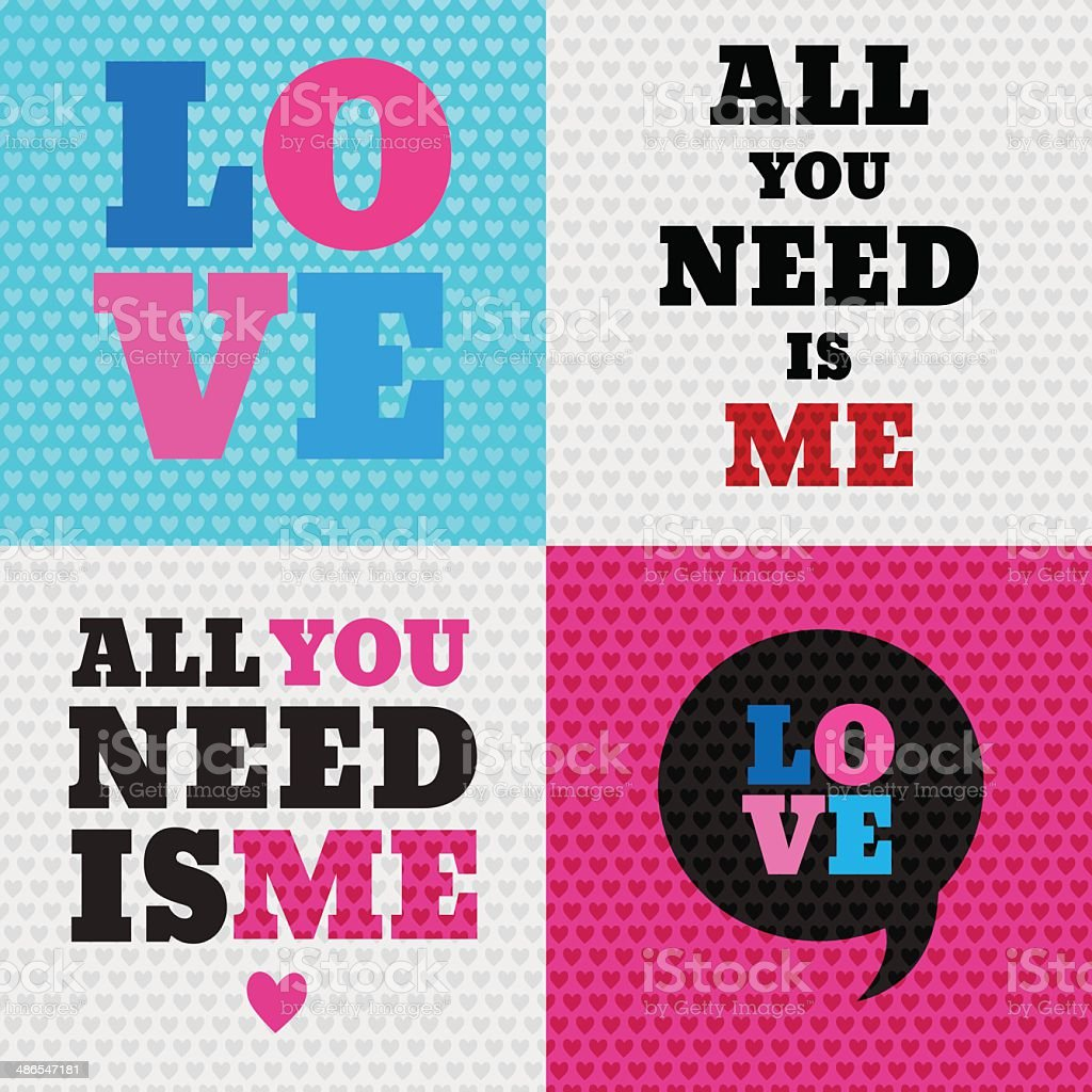 Set of 4 valentines day illustrations and typography elements. B vector art illustration