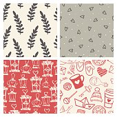 Set of 4 hand-sketched valentine's day seamless patterns. Great for holiday decoration, wrapping paper, scrapbooking, etc.