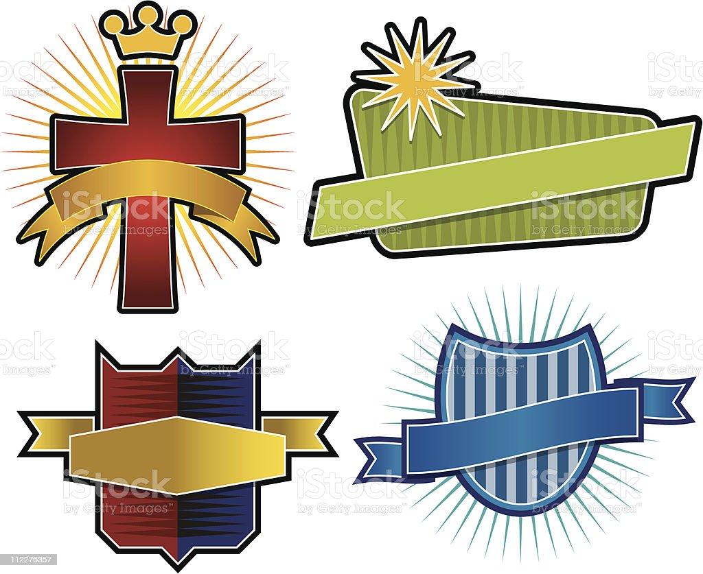 Set of 4 Vector Emblems & Crest royalty-free stock vector art