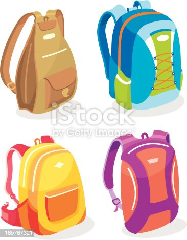 Set of 4 vector illustrations of colorful backpacks