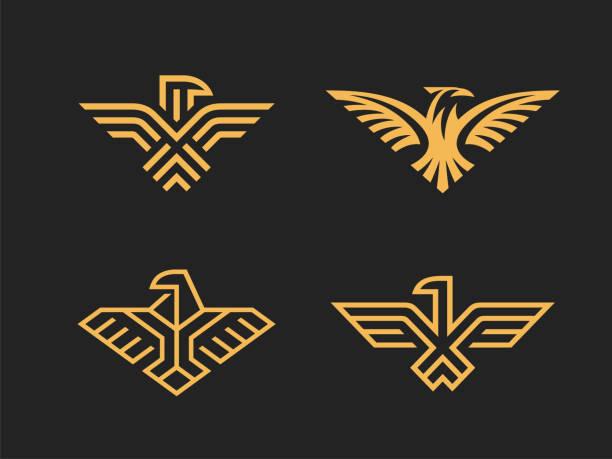 illustrations, cliparts, dessins animés et icônes de lot de 4 signes vectoriels. aigles abstraits - aigle