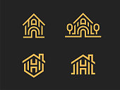 Set of 4 vector signs. Abstract houses in a linear style. Security houses, home and property protection, real estate sales, home renovation, architecture, landscape design and much more.