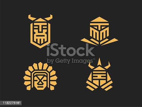 Set of 4 vector signs. Abstract warriors. Linear style. Color version on a dark background.
