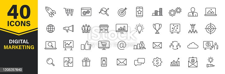 istock Set of 40 Digital Marketing web icons in line style. Social, networks, feedback, communication, marketing, ecommerce. Vector illustration. 1205257640