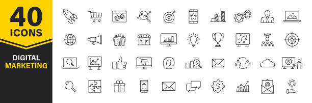 Set of 40 Digital Marketing web icons in line style. Social, networks, feedback, communication, marketing, ecommerce. Vector illustration. Set of 40 Digital Marketing web icons in line style. Social, networks, feedback, communication, marketing, ecommerce. Vector illustration digital marketing stock illustrations