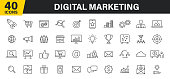 istock Set of 40 Digital Marketing web icons in line style. Social, networks, feedback, communication, marketing, ecommerce. Vector illustration. 1214544926