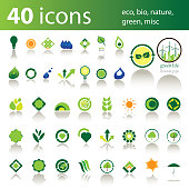 40 Logos or Icons: Eco, Bio, Nature, Green, Misc - Illustration in Editable Vector Format