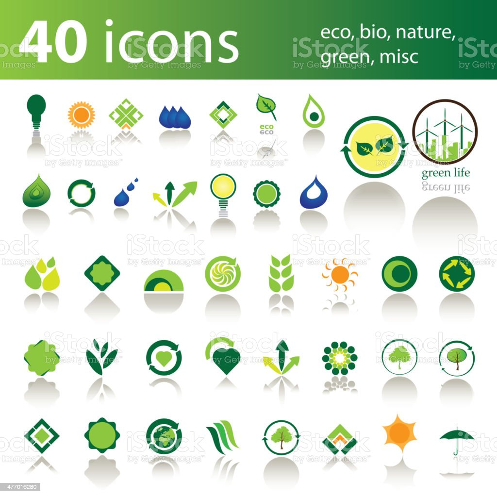 Set of 40 Eco Icons and Design Elements vector art illustration