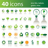 Set of 40 Icons: Eco, Bio, Nature, Green, Misc