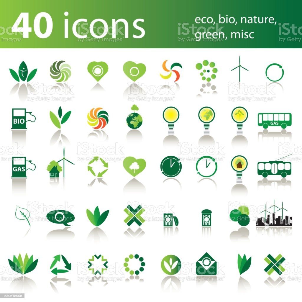 Set of 40 Icons: Eco, Bio, Nature, Green, Misc vector art illustration