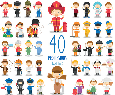 Set of 40 professions in cartoon style.