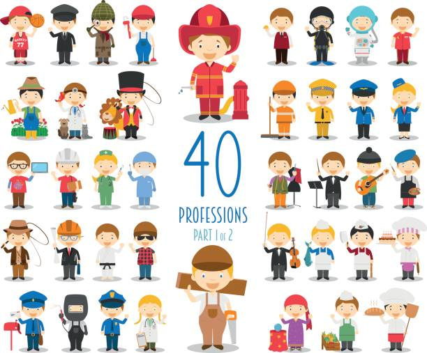 set of 40 professions in cartoon style. - cartoon kids stock illustrations, clip art, cartoons, & icons