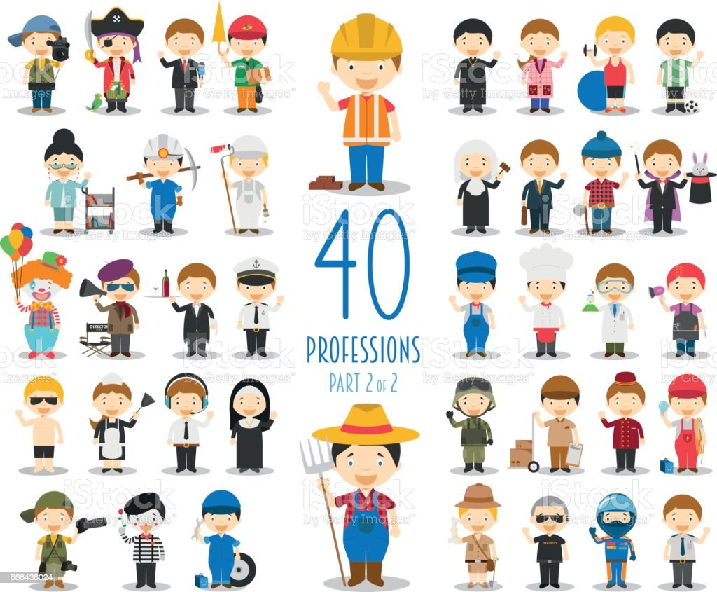 Set of 40 professions in cartoon style. vector art illustration