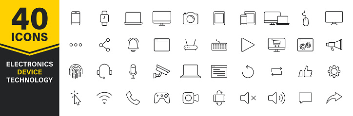 Set of 40 Technology and Electronics and Devices web icons in line style. Device, phone, laptop, communication, smartphone, ecommerce. Vector illustration.