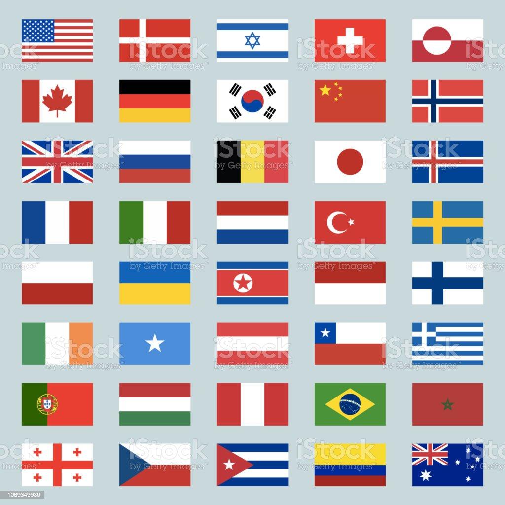 Set of 40 world flags icons. USA, Portugal, Israel, Switzerland, Canada, Germany, South Korea, China, Great Britain, Russia, Brazil, Japan, France, Italy, Netherlands, Turkey. Illustration - ilustração de arte vetorial