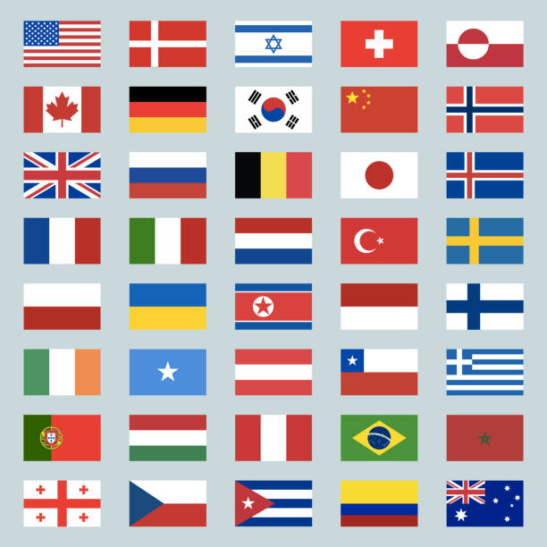 ilustrações de stock, clip art, desenhos animados e ícones de set of 40 world flags icons. usa, portugal, israel, switzerland, canada, germany, south korea, china, great britain, russia, brazil, japan, france, italy, netherlands, turkey. illustration - mapa portugal
