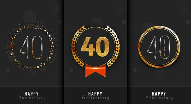 Set of 40th anniversary decorated Happy anniversary card template. vector art illustration