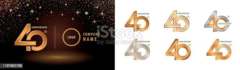 Set of 40th Anniversary logotype design, Forty years anniversary celebration. 40 Years Celebrating Anniversary Logo silver and golden for celebration event, invitation, greeting, vector illustration, web template, flyer and booklet