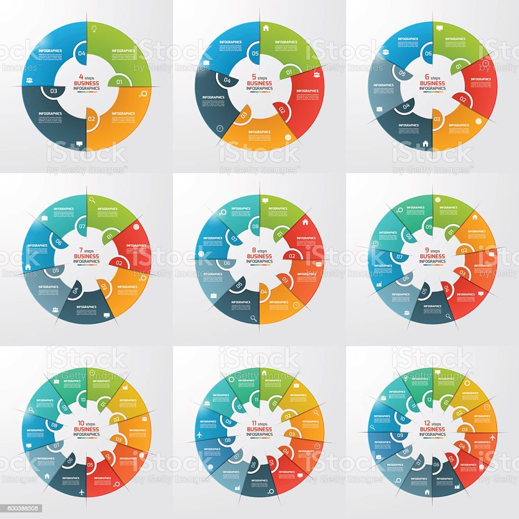 Set of 4-12 steps pie chart circle infographic templates. vector art illustration