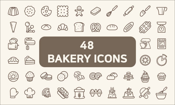 Set of 48 bakery and dessert Icons line style. Contains such Icons as cookie, pudding, oven, kitchen tools, doughnut, bread, macaroon, muffin And Other Elements.  customize color, easy resize. rolling pin stock illustrations