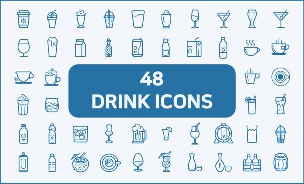 набор из 48 напитков и напитков, связанных с векторными иконками. - напиток stock illustrations