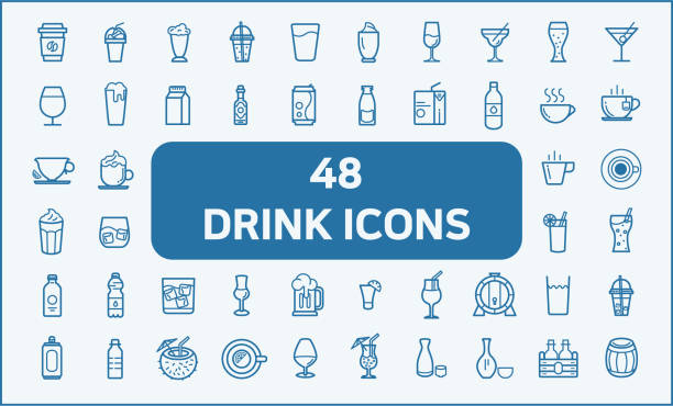set of 48 drink and beverage related vector icons. - alcohol drink silhouettes stock illustrations