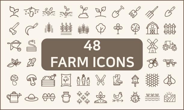 ilustrações, clipart, desenhos animados e ícones de jogo da exploração agrícola e da agricultura 48 estilo da linha dos ícones. - corn farm