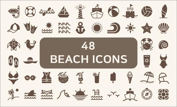illustrations, cliparts, dessins animés et icônes de ensemble de 48 océan et plage vector icons style solide. - chateau de sable