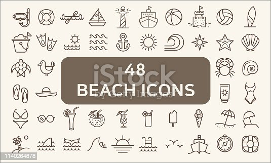 Contains such Icons as beach ball, seaside, ocean, swimsuit, bikini, lighthouse, swimming goggles, turtle And Other Elements.