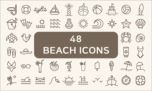 Set of 48 Ocean and Beach Vector Icons thin line style. clipart