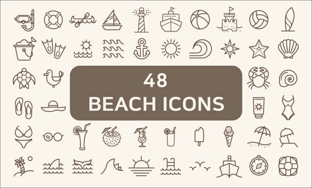 set of 48 ocean and beach vector icons thin line style. - beach stock illustrations