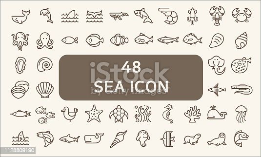 Contains such Icons as Nautical Creatures , sea food, sea, ocean, fish, coral, sea horse, seaweed, turtle And Other Elements.customize color, stroke width control , easy resize.