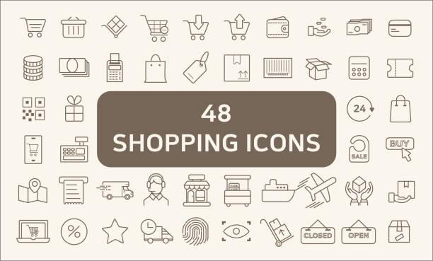 bildbanksillustrationer, clip art samt tecknat material och ikoner med av 48 shopping disposition ikoner - on demand