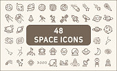 Contains such Icons as space, planet, alien, solar, astronaut, technology, space travels, stars, exploration And Other Elements. customize color, stroke width control , easy resize.