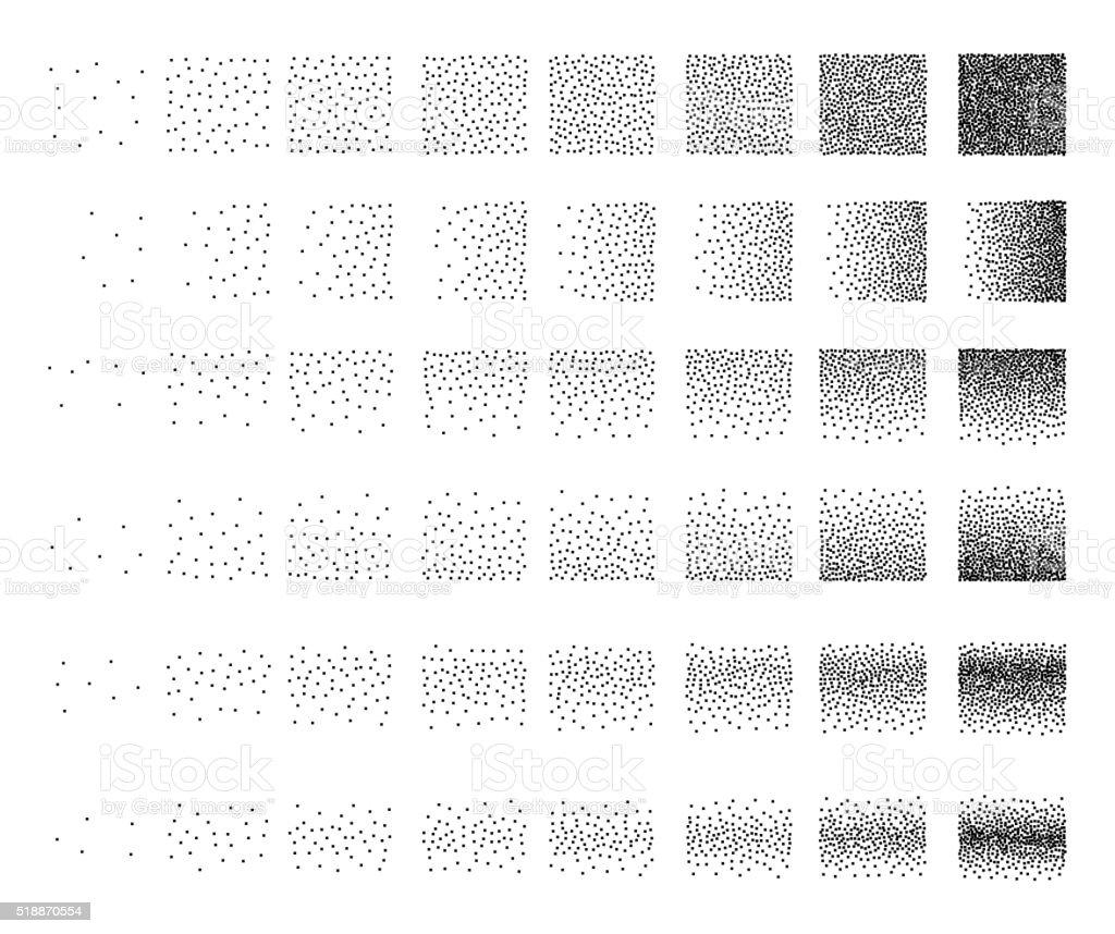 Set of 48 square Stipple pattern for design. Tile spots