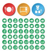 Set of 48 Universal Restaurant and Home Appliances Icons.