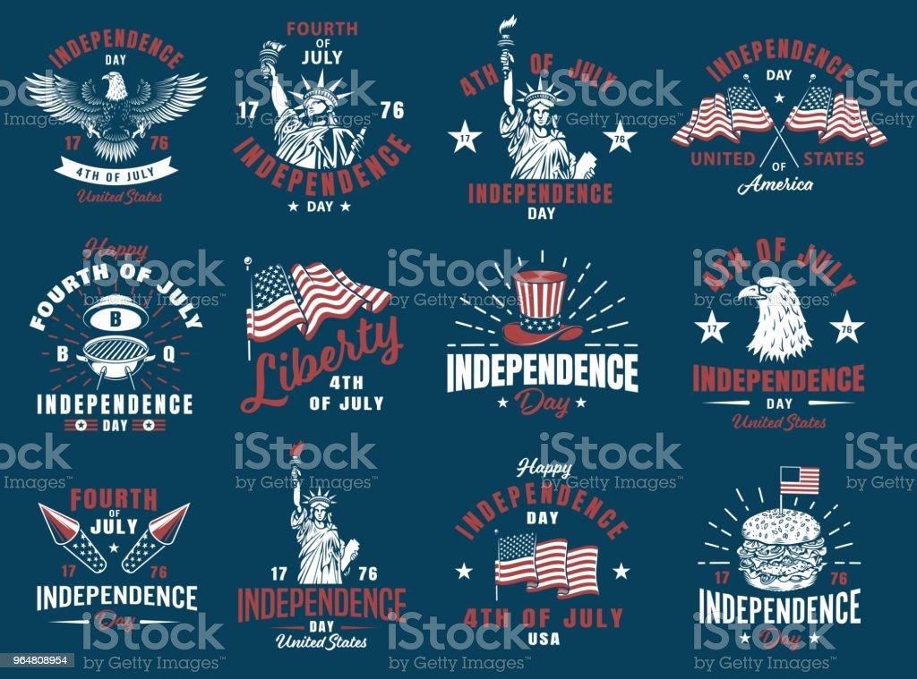 Set of 4th july emblem royalty-free set of 4th july emblem stock vector art & more images of backgrounds