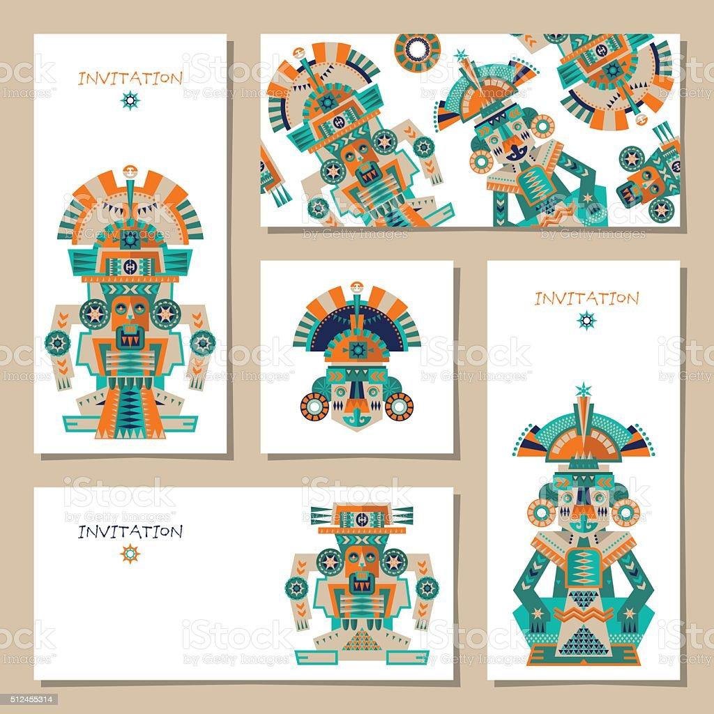 Ensemble De 8 Cartes De Azteque Maya Ceremoniels Et Des Sculptures Vecteurs Libres De Droits Et Plus D Images Vectorielles De Anniversaire D Un Evenement Istock