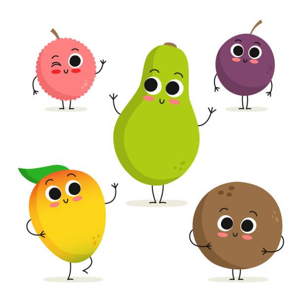 illustrazioni stock, clip art, cartoni animati e icone di tendenza di set of 5 cute cartoon exotic fruit characters isolated on white - illustrazioni di passiflora