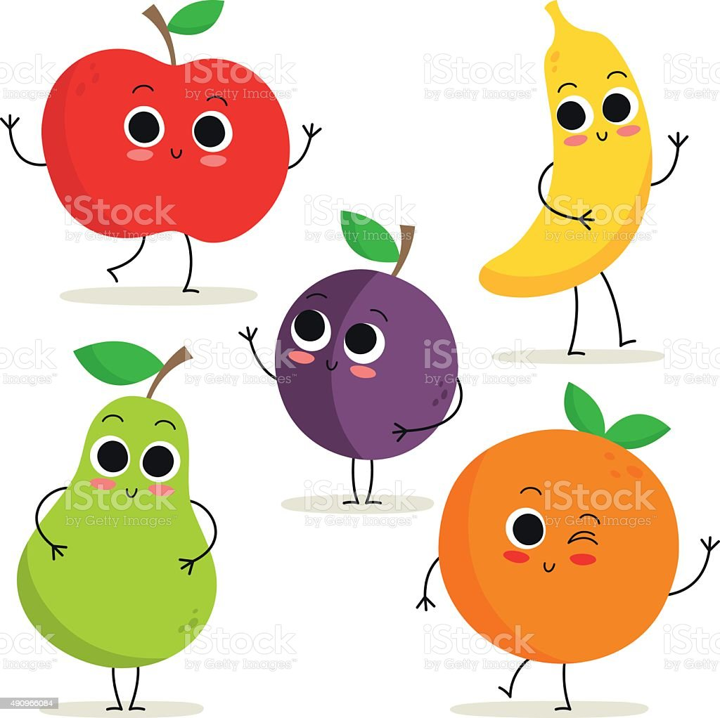 Set of 5 cute cartoon fruit characters isolated on white vector art illustration
