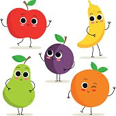 Set of 5 cute cartoon fruit characters isolated on white