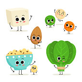 Adorable collection of five cartoon vegan protein food characters isolated on white: tofu, lentils, almond, oats and spinach