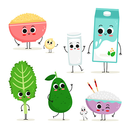 Set of 5 cute cartoon vegan protein food characters isolated on white: quinoa, soy milk, kale, avocado and rice