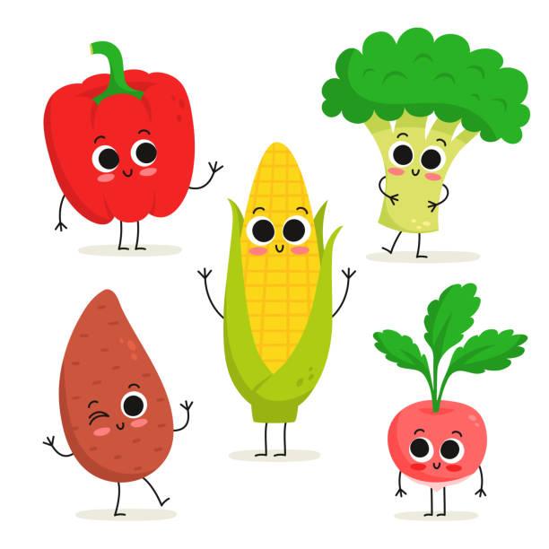ilustrações de stock, clip art, desenhos animados e ícones de set of 5 cute cartoon vegetable characters isolated on white: bell pepper, sweet potato, corn, broccoli, radish - red bell pepper isolated