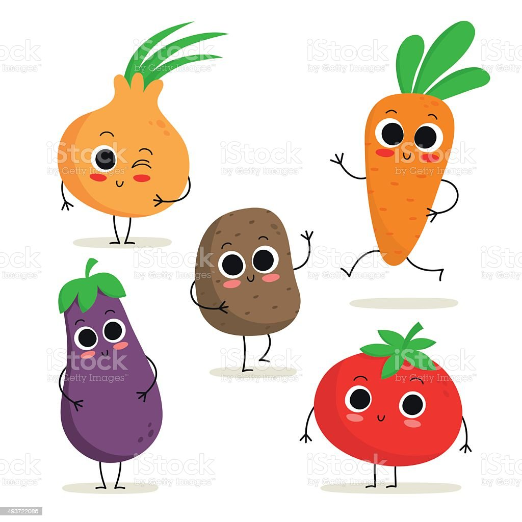 Set of 5 cute cartoon vegetable characters isolated on white vector art illustration